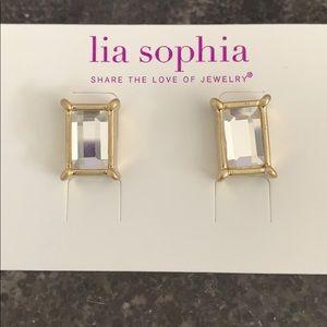 Lia Sophia rectangular rhinestone earrings
